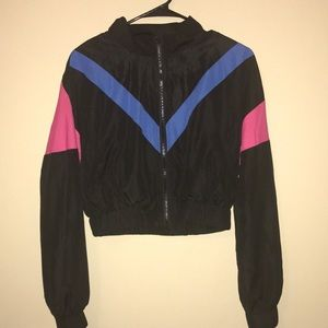 Color Block Lined Windbreaker Zip Up Jacket